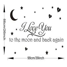 I love you to the moon and back again star vinyl quotes for kids baby bedroom decorations wall stickers sticker home decor decal
