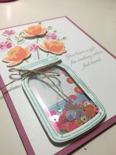 Jar of Love Shaker Card by Melissa's - Stampin' Up! Mother Card, Mothers Day Cards, Pop Up Cards, Love Cards, Mason Jar Cards, Pots, Shaker Cards, Planner, Card Sketches
