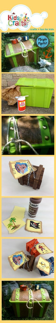 Ahoy! Treasure chest and pirate party favors crafts. So cute for a #TalkLikePirateDay party or a fun kids birthday party idea. Click thru for the full #DIY on this cute pirate themed party on our #plaidcrafts kids blog