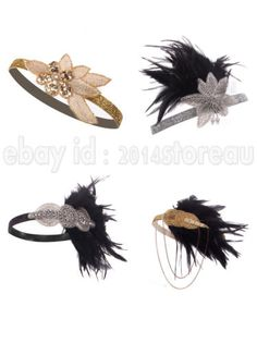1920 s Flapper Great Gatsby Headpiece Feather Vintage Charleston Hair  Headbands 75016d34e8