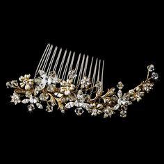 Gold  Plated Crystal Floral Wedding Hair Comb - Affordable Elegance Bridal -