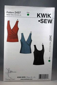 Kwik Sew 3497 Misses' Pull-over Tops Sewing Pattern
