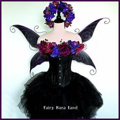 Adult  m/l  Fairy Costume- waist 30 inch and up - The Wonderfully wicked and EVER - so - EVIL FAERIE  - Dark Fairy - bad girl