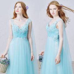 Designer Aqua Blue Beaded Goddess Prom Ball Gown Evening Dresses SKU-122041