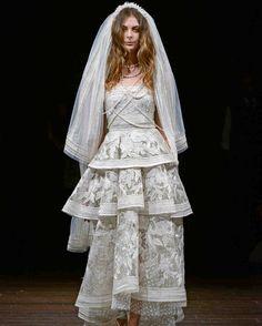 Naeem Khan Spring 2018 Wedding Dress Collection | Martha Stewart Weddings – A-line wedding dress with tiered skirt