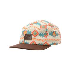 71fcb0d9eb1 Vans Khaki Native Print 5 Panel Hat ( 28) ❤ liked on Polyvore featuring  accessories