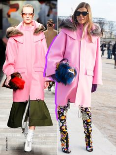 Anna Dello Russo wearing a pink Fendi coat from the Fendi F/W '14 collection