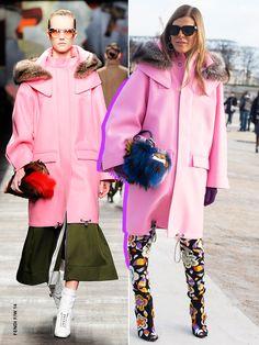 Anna Dello Russo wearing a pink Fendi coat from the Fendi F/W '14 collection