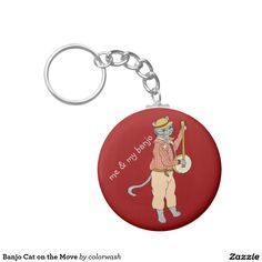 Banjo Cat on the Move Keychain - Take your banjo with you whenever you're on the move.