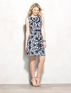 Geometric Scroll Print Fit-and-Flare Dress / navy & white