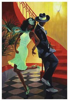 Moonglow Mecca (Couple Dancing) Art Print by Graham Reynolds