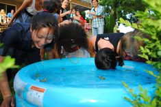 Bobbing for nipples baby shower game. Would be great if there were guys invited!