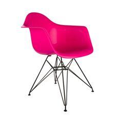 Black Eiffel Arm Chair in Fuchsia