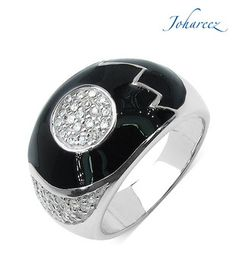 Johareez Enigmatic Black CZ Sterling Silver Ring