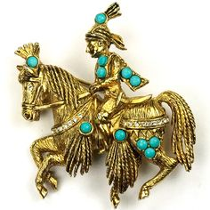 Hattie Carnegie Gold and Turquoise Mongolian Rider on Horseback Pin