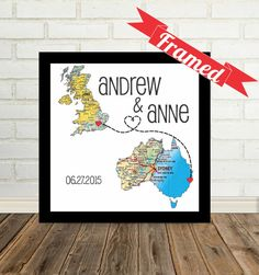 Wedding Gift Personalized Map Print FRAMED Unique Wedding Gift Any Location Available Long Distance Love Map Art Gift For Couple Personalized Engagement Gifts, Personalized Gifts, Unique Wedding Gifts, Trendy Wedding, Luxury Wedding, Diy Wedding, Wedding Ideas, Heart Map, Framed Maps
