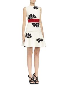Alexander McQueen Floral Jacquard Mini Dress, Bone/Black/Red