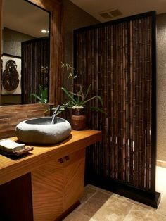 Bathroom Design, Tremendous Tropical Bathroom Style With Admirable Bamboo Bathroom Vanity With Unique Vessel Stone Sink Design With Unique F. Asian Bathroom, Bamboo Bathroom, Zen Bathroom, Bamboo Wall, Bamboo Fence, Bathroom Ideas, Bathroom Designs, Bamboo Poles, Chinese Bathroom