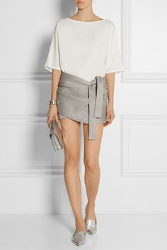 Minimal + Chic  // Jay Ahr | Wrap-effect coated stretch-knit shorts in light grey