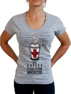 "For all those sporting types who look forward to their post activity caffeine hit. This tee says it all. ""The Coffee Coalition"". www.cycologygear.com"