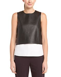 """Theory """"Hodal L.Easeful"""" Black Leather Trim Top"""