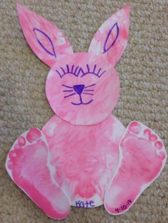 Easter bunny! Finger painted and footprints