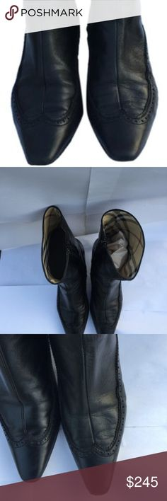 Burberry  Black Authn. Leather and Nova Check Boot Burberry Leather and Nova Check Boots Condition: Good Color: Black Size:8/38 Heel: 2 inch Comes with out box and dust bag. Some wear to the leather and sole.   Gently used Missing accessories (shoebox, dustbag) Exterior scuffs or marks Some wear Burberry Shoes Ankle Boots & Booties