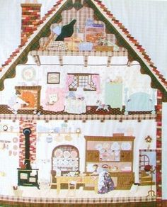 Love the idea of a dollhouse quilt filled with cool little details. Story Quilt 4 Seasons by Yukari Takahara by JapanLovelyCrafts Patchwork Quilt Patterns, Applique Quilts, Dollhouse Quilt, Japanese Patchwork, Cute Quilts, Doll Quilt, Patch Quilt, Hand Quilting, Pattern Books