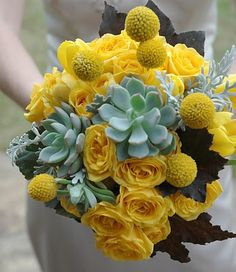 Yellow and Succulent bridesmaid bouquet