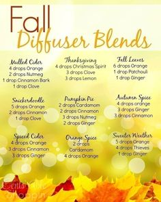 Oil-Diffuser/ Fall Diffuser Blends ~ Young Living Essential Oils - need to print this out. Essential Oil Diffuser Blends, Doterra Essential Oils, Young Living Essential Oils, Yl Oils, Doterra Blends, Doterra Diffuser, Essential Oil Spray, Diffuser Recipes, Aromatherapy Oils