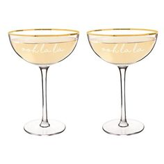 Cathy's Concepts Ooh La La Set Of 2 Champagne Coupes (€32) ❤ liked on Polyvore featuring home, kitchen & dining, drinkware, gold and twin pack