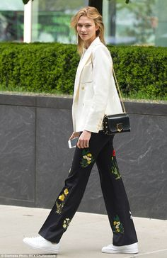 Floral fun:Karlie Kloss decided to mix things up a bit as she headed out to grab a coffee...