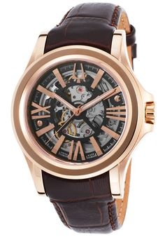 Accutron by Bulova 64A103 Watches,Men's Kirkwood Auto Dark Brown Genuine Leather and Dial, Luxury Accutron by Bulova Automatic Watches