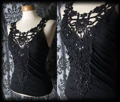 Gothic Black Lace Detail ABSOLUTION Corset Panel Top 10 12 Victorian Vintage - £24.00