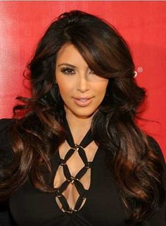 dark brunette hair with ombre highlights for long wavy with side bangs