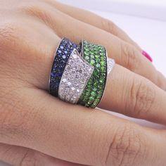 Tsavorite Sapphire Diamond Gold Band Ring image 2