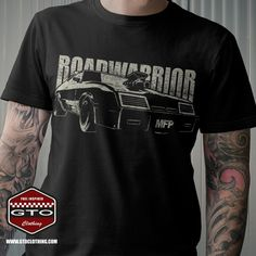 "Mad Max Inspired MFP Roadwarrior T-Shirt showing a 1973 Ford Falcon XB GT Coupe with blower and Nosecone and a ""Roadwarrior"" lettering behind it. It't the prefect shirt for every Aussie Muscle Car lover and fan of the Car used in the Mad Max movies. Order; www.gtoclothing.com"