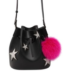 Les Petits Joueurs Women Dalia Star Pompom Leather Bucket Bag found on Polyvore featuring bags, handbags, shoulder bags, black, bucket bag, beaded handbag, drawstring purse, genuine leather purse and leather bucket bags