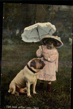 TUCK RAPHOLETTE GLOSSO No 8096G Little Girl w Bulldog Dog c1910 GEL PC
