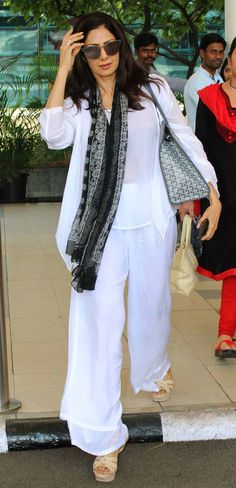 Sridevi at the Mumbai airport. #Bollywood #Fashion #Style #Beauty #Hot #WAGS