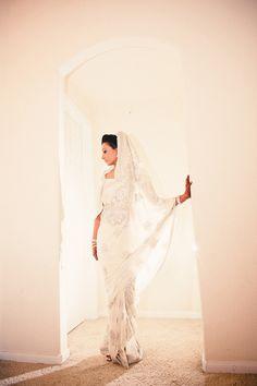 Gorgeous white sari