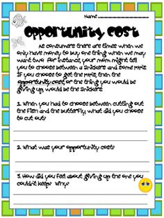 Worksheets Opportunity Cost Worksheet economics opportunity costs ideas and printables cost how to introduce