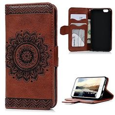"""iPhone 6S/6 Wallet Case (4.7""""), YOKIRIN PU Leather Dream Catcher 3D Relief Totem Embossed Folio Flip Full Protective Cover with Credit Card Holder Kickstand Magnetic Closure for iPhone 6/6S, Brown  