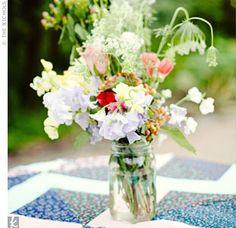 wildflowers in mason jars