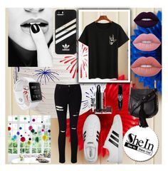 """👄"" by armella ❤ liked on Polyvore featuring Miss Selfridge, adidas, Chloé and Lime Crime"