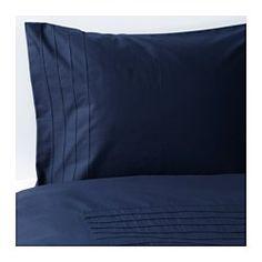 IKEA - ALVINE STRÅ, Bettwäscheset, 2-teilig, 140x200/80x80 cm, , Kammgarnbaumwolle sorgt für weiche, hautsympathische Bettwäsche mit besonders gleichmäßigem, glattem Gewebebild.Dichtgewebte feinfädige Garne sorgen für angenehmen Griff und lange Haltbarkeit.Dekorative Faltensäume sorgen für weiche Struktur und bilden eine interessante Oberfläche.Verdeckte Druckknöpfe am Bezug verhindern, dass die Decke herausrutscht.