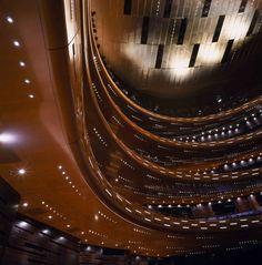 Curvy balconies inside the Large Auditorium of the Opera House in Copenhagen, Denmark. Photo by Adam Mørk.