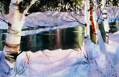 Winter Forest Reflections Painting - Winter Forest Reflections by Teresa Ascone