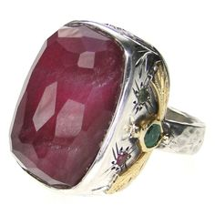 Handmade, Silver 925, Gold k18, Ruby doublet stone