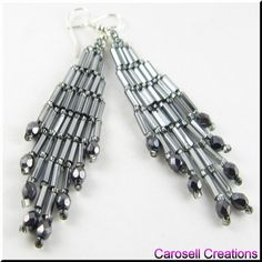 Bugle Girl Seed Beaded Dangle Chandelier Earrings TAGS - Jewelry, Earrings, Beaded,carosell creations, metallic gray, grey, glass, seed beads, off loom, stitched, dangle, chandelier, czech, bugle, gypsy, pierced, accessories, holiday gift idea, bride, bridal, wedding, evening, girl, ladies, trendy, fashion, chic, boho, gypsy, modern, etsy, women, native american indian, southwestern